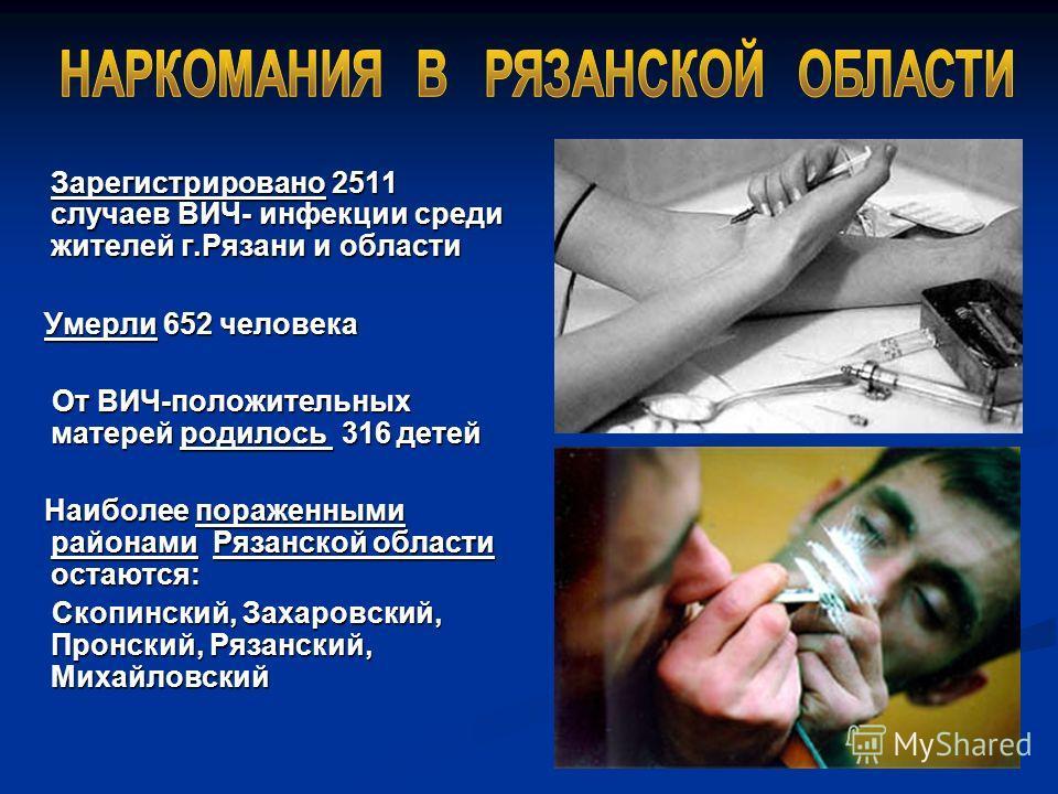 Зарегистрировано 2511 случаев ВИЧ- инфекции среди жителей г.Рязани и области Умерли 652 человека От ВИЧ-положительных матерей родилось 3 3 3 316 детей Наиболее пораженными районами Рязанской области остаются: Скопинский, Захаровский, Пронский, Рязанс