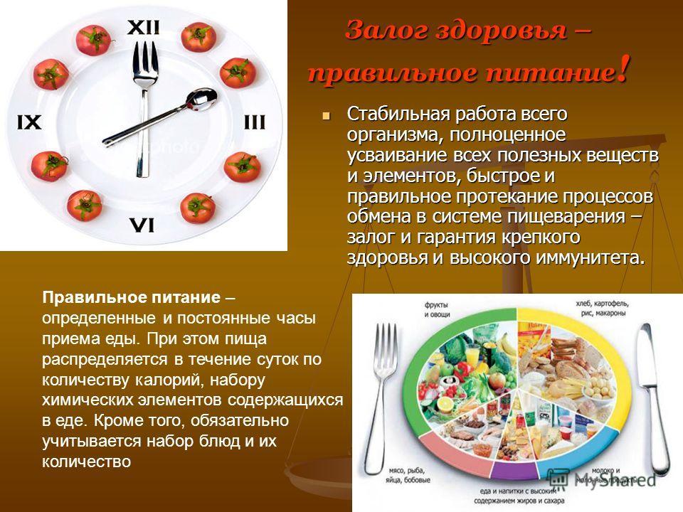 Залог здоровья – правильное питание ! Стабильная работа всего организма, полноценное усваивание всех полезных веществ и элементов, быстрое и правильное протекание процессов обмена в системе пищеварения – залог и гарантия крепкого здоровья и высокого