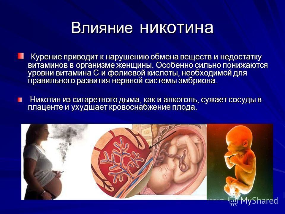 Влияние никотина Курение приводит к нарушению обмена веществ и недостатку витаминов в организме женщины. Особенно сильно понижаются уровни витамина С и фолиевой кислоты, необходимой для правильного развития нервной системы эмбриона. Курение приводит