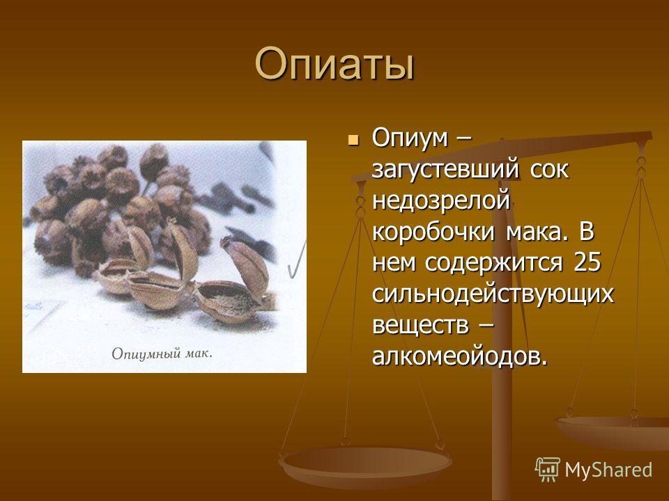 Опиаты Опиум – загустевший сок недозрелой коробочки мака. В нем содержится 25 сильнодействующих веществ – алкомеойодов.