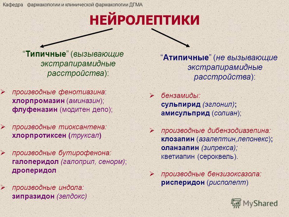 Типичные (вызывающие экстрапирамидные расстройства): производные фенотиазина: хлорпромазин (аминазин); флуфеназин (модитен депо); производные тиоксантена: хлорпротиксен (труксал) производные бутирофенона: галоперидол (галоприл, сенорм); дроперидол пр