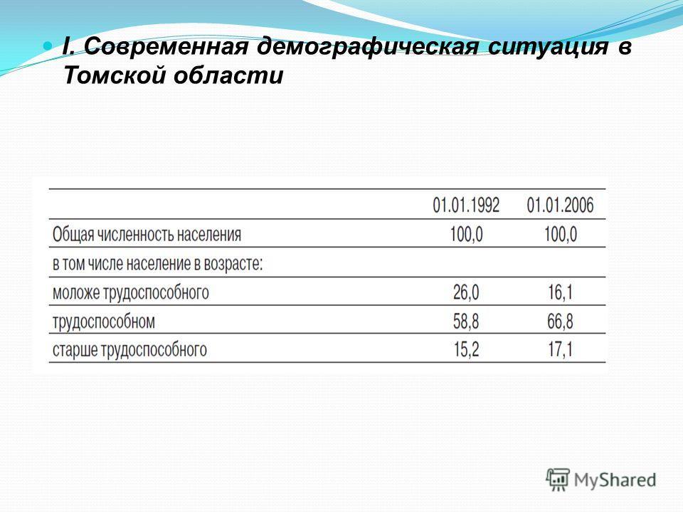 I. Современная демографическая ситуация в Томской области