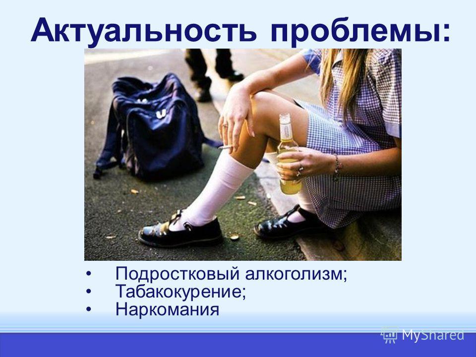 Актуальность проблемы: Подростковый алкоголизм; Табакокурение; Наркомания