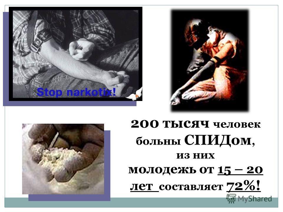200 тысяч человек больны СПИДом, из них молодежь от 15 – 20 лет составляет 72%!