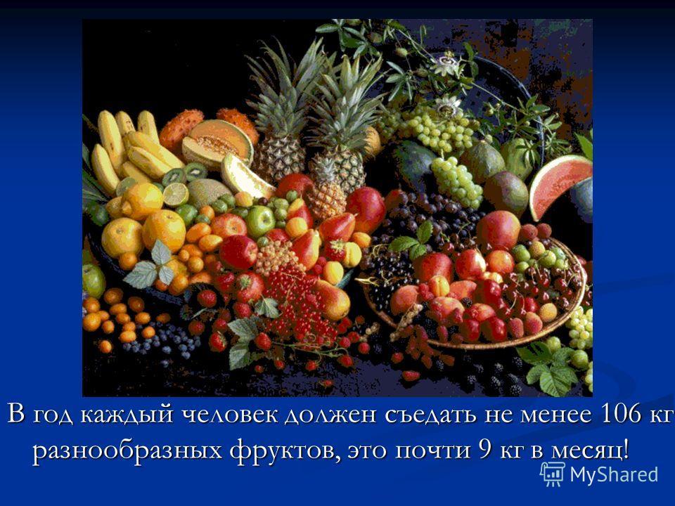 В год каждый человек должен съедать не менее 106 кг разнообразных фруктов, это почти 9 кг в месяц!