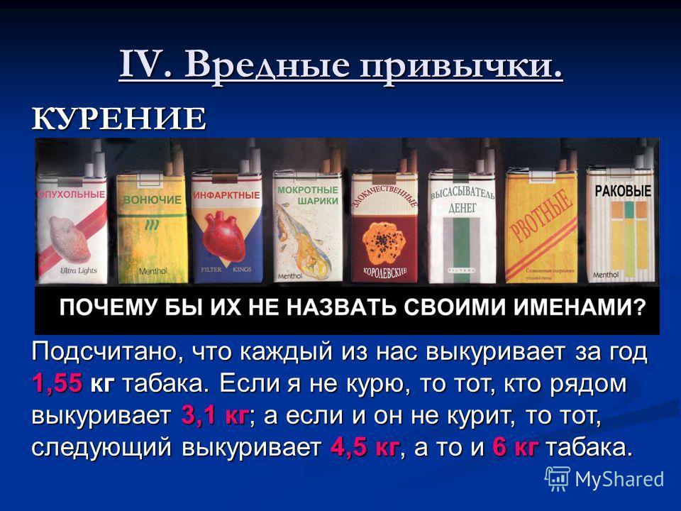 IV. Вредные привычки. КУРЕНИЕ Подсчитано, что каждый из нас выкуривает за год 1,55 кг табака. Если я не курю, то тот, кто рядом выкуривает 3,1 кг; а если и он не курит, то тот, следующий выкуривает 4,5 кг, а то и 6 кг табака.
