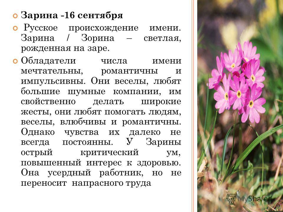 Зарина -16 сентября Русское происхождение имени. Зарина / Зорина – светлая, рожденная на заре. Обладатели числа имени мечтательны, романтичны и импульсивны. Они веселы, любят большие шумные компании, им свойственно делать широкие жесты, они любят пом