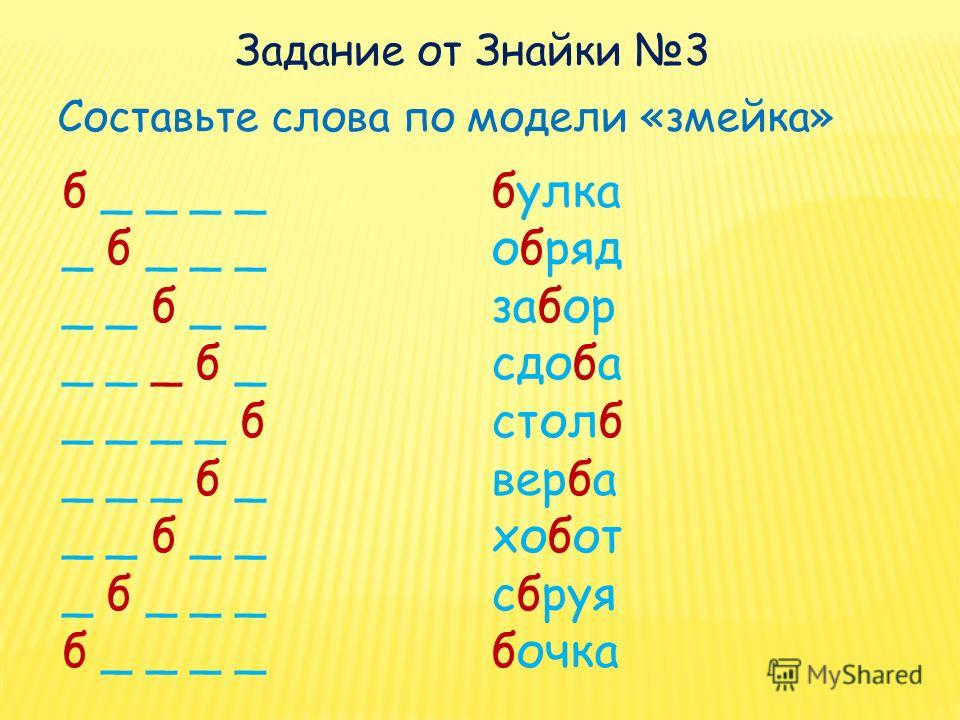 Составьте слова по модели «змейка» б _ _ _ _ _ б _ _ _ _ _ б _ _ _ _ _ б _ _ _ _ _ б _ _ _ б _ _ _ б _ _ _ б _ _ _ б _ _ _ _ булка обряд забор сдоба столб верба хобот сбруя бочка Задание от Знайки 3