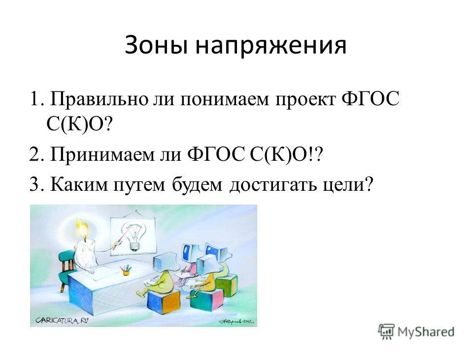 Зоны напряжения 1. Правильно ли понимаем проект ФГОС С(К)О? 2. Принимаем ли ФГОС С(К)О!? 3. Каким путем будем достигать цели?