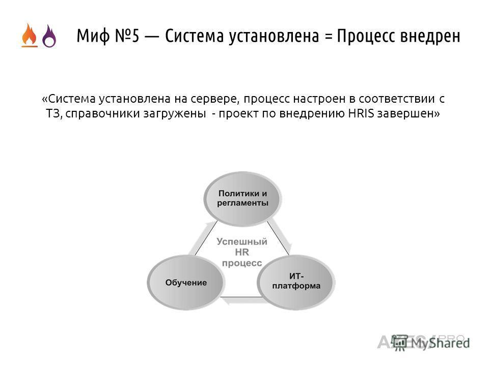 Миф 5 Система установлена = Процесс внедрен «Система установлена на сервере, процесс настроен в соответствии с ТЗ, справочники загружены - проект по внедрению HRIS завершен»