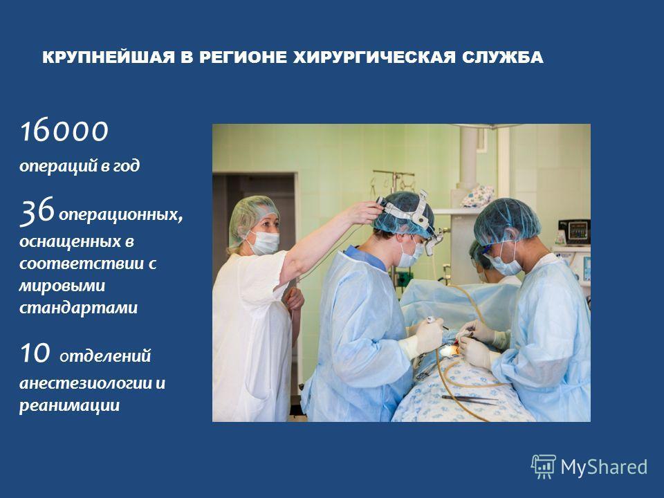 КРУПНЕЙШАЯ В РЕГИОНЕ ХИРУРГИЧЕСКАЯ СЛУЖБА 16000 операций в год 36 операционных, оснащенных в соответствии с мировыми стандартами 10 отделений анестезиологии и реанимации