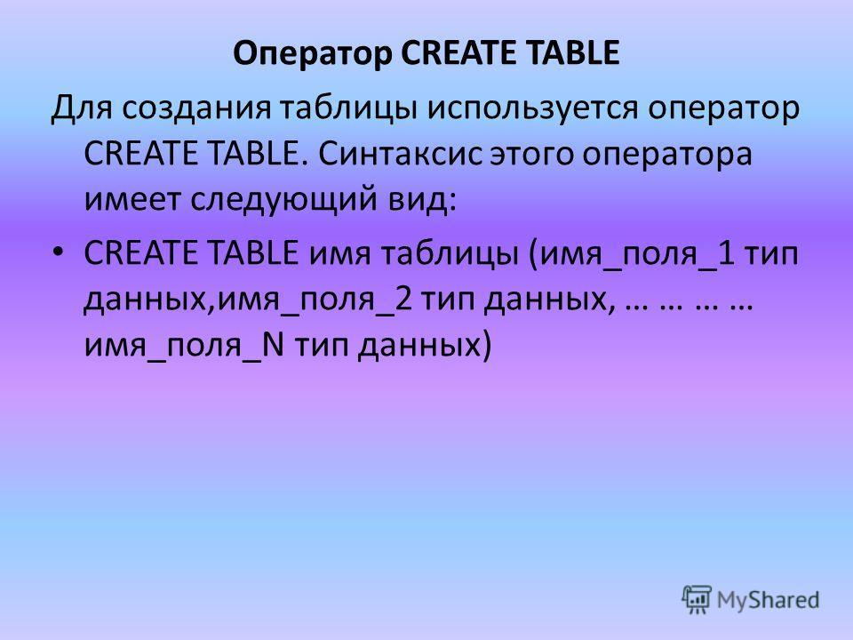 Оператор CREATE TABLE Для создания таблицы используется оператор CREATE TABLE. Синтаксис этого оператора имеет следующий вид: CREATE TABLE имя таблицы (имя_поля_1 тип данных,имя_поля_2 тип данных, … … … … имя_поля_N тип данных)