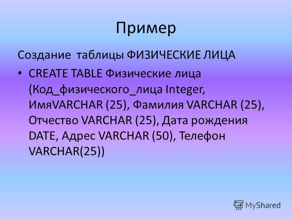 Пример Создание таблицы ФИЗИЧЕСКИЕ ЛИЦА CREATE TABLE Физические лица (Код_физического_лица Integer, ИмяVARCHAR (25), Фамилия VARCHAR (25), Отчество VARCHAR (25), Дата рождения DATE, Адрес VARCHAR (50), Телефон VARCHAR(25))