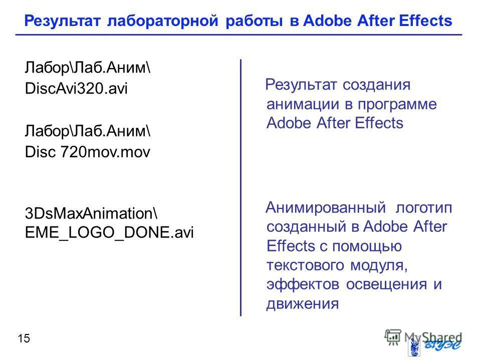 15 Результат создания анимации в программе Adobe After Effects Анимированный логотип созданный в Adobe After Effects с помощью текстового модуля, эффектов освещения и движения Лабор\Лаб.Аним\ DiscAvi320. avi Лабор\Лаб.Аним\ Disc 720mov.mov 3DsMaxAnim