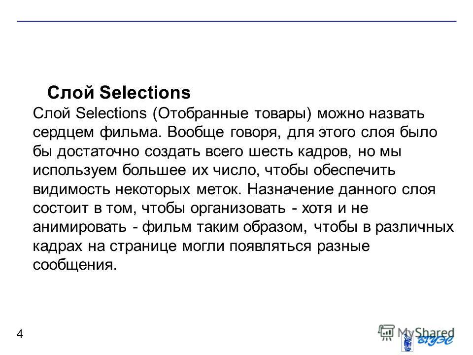 4 Слой Selections Слой Selections (Отобранные товары) можно назвать сердцем фильма. Вообще говоря, для этого слоя было бы достаточно создать всего шесть кадров, но мы используем большее их число, чтобы обеспечить видимость некоторых меток. Назначение