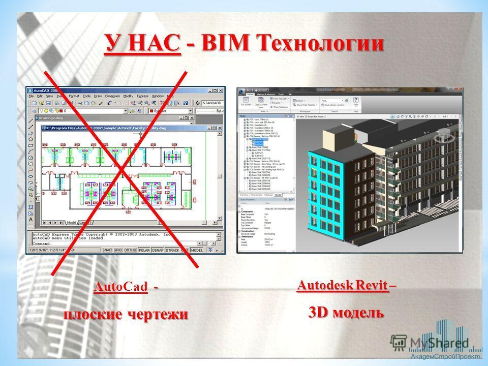 У НАС - BIM Технологии Autodesk Revit – 3D модель - AutoCad - плоские чертежи