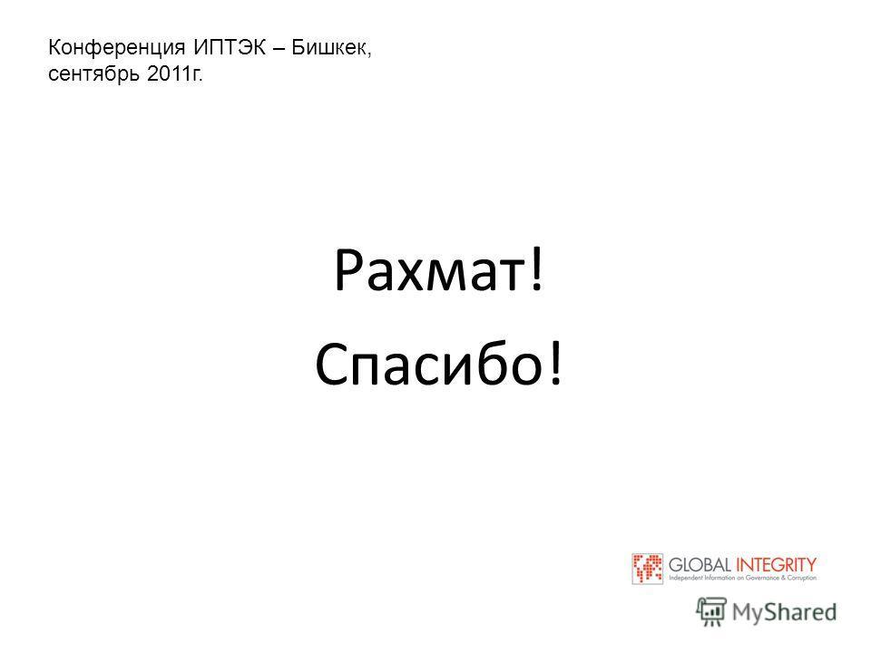 Рахмат! Спасибо! Конференция ИПТЭК – Бишкек, сентябрь 2011 г.