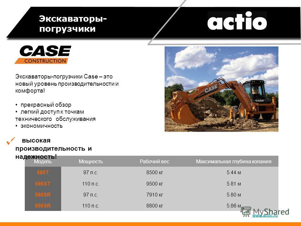 Экскаваторы- погрузчики Модель МощностьРабочий вес Максимальная глубина копания 580T97 л.с.8500 кг 5.44 м 695ST110 л.с.9500 кг 5.81 м 580SR97 л.с.7910 кг 5.80 м 695SR110 л.с.8800 кг 5,86 м www.actio.ru Экскаваторы-погрузчики Case – это новый уровень