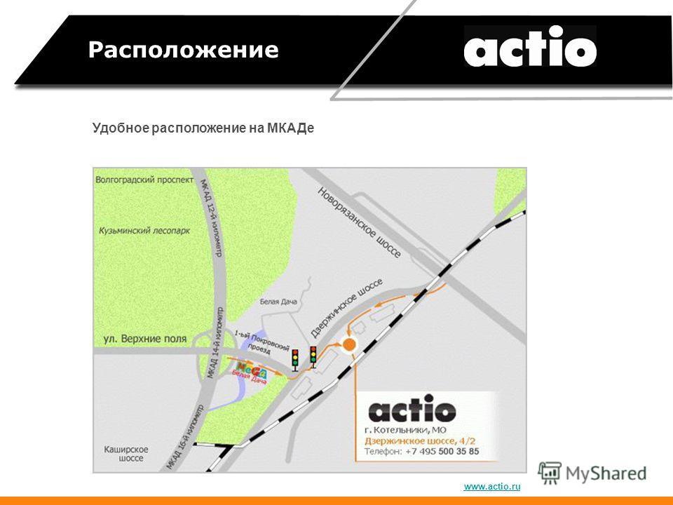Расположение Удобное расположение на МКАДе www.actio.ru