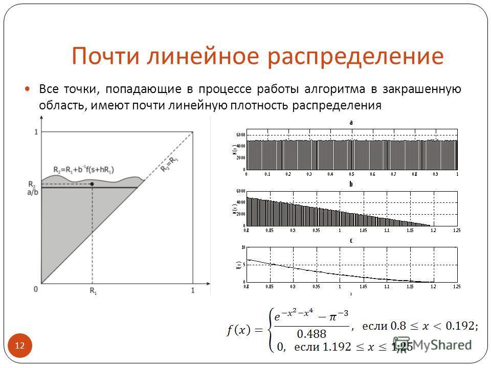 Почти линейное распределение Все точки, попадающие в процессе работы алгоритма в закрашенную область, имеют почти линейную плотность распределения 12
