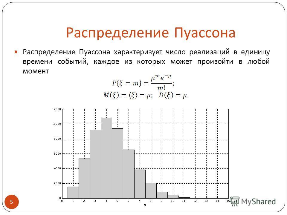 Распределение Пуассона Распределение Пуассона характеризует число реализаций в единицу времени событий, каждое из которых может произойти в любой момент 5
