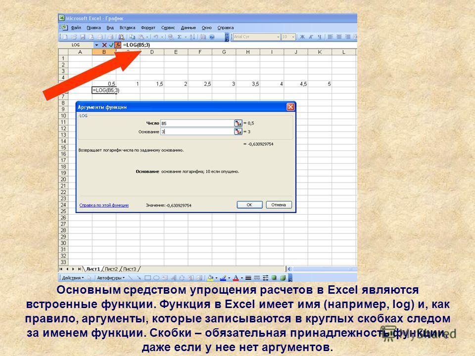 Основным средством упрощения расчетов в Excel являются встроенные функции. Функция в Excel имеет имя (например, log) и, как правило, аргументы, которые записываются в круглых скобках следом за именем функции. Скобки – обязательная принадлежность функ