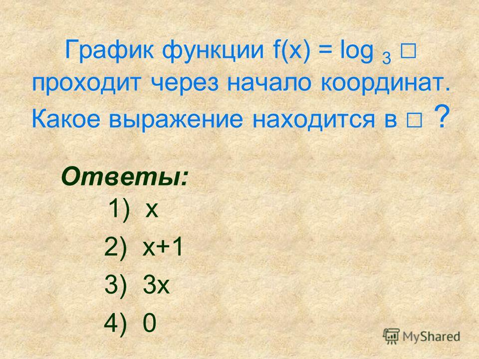 График функции f(x) = log 3 проходит через начало координат. Какое выражение находится в ? Ответы: 1) х 2) х+1 3) 3 х 4) 0