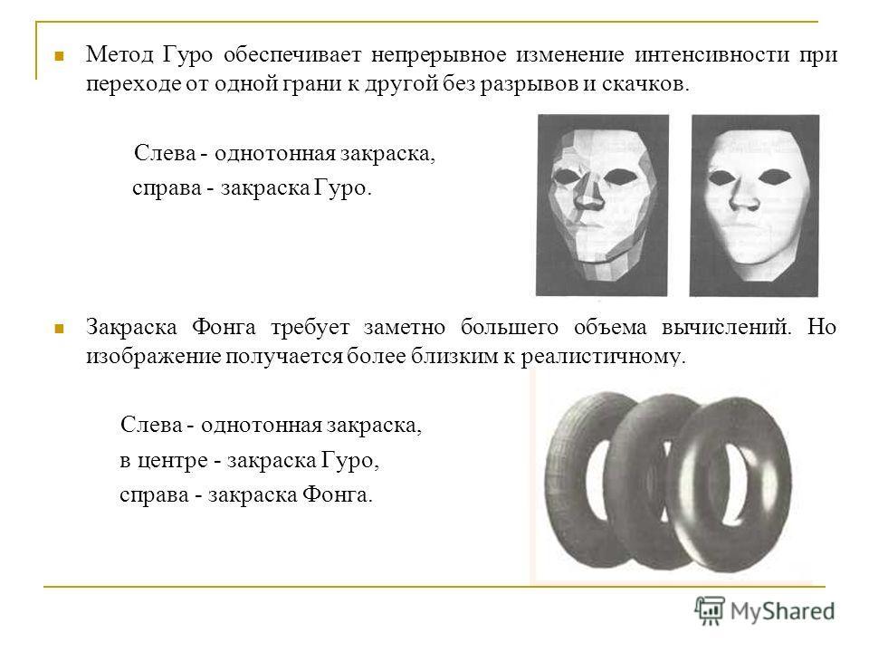 Метод Гуро обеспечивает непрерывное изменение интенсивности при переходе от одной грани к другой без разрывов и скачков. Слева - однотонная закраска, справа - закраска Гуро. Закраска Фонга требует заметно большего объема вычислений. Но изображение по