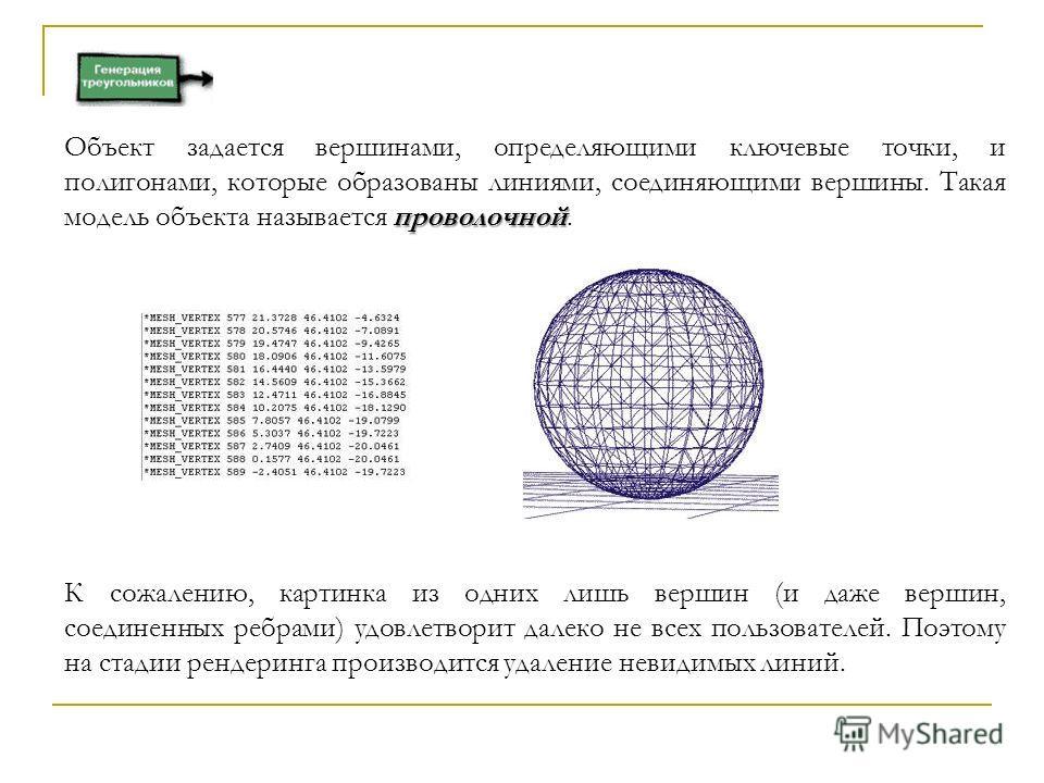 проволочной Объект задается вершинами, определяющими ключевые точки, и полигонами, которые образованы линиями, соединяющими вершины. Такая модель объекта называется проволочной. К сожалению, картинка из одних лишь вершин (и даже вершин, соединенных р