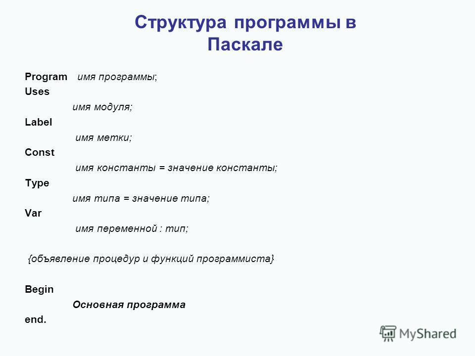 Структура программы в Паскале Program имя программы; Uses имя модуля; Label имя метки; Const имя константы = значение константы; Type имя типа = значение типа; Var имя переменной : тип; {объявление процедур и функций программиста} Begin Основная прог