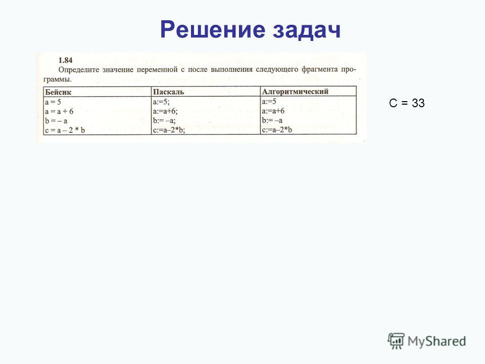 Решение задач С = 33