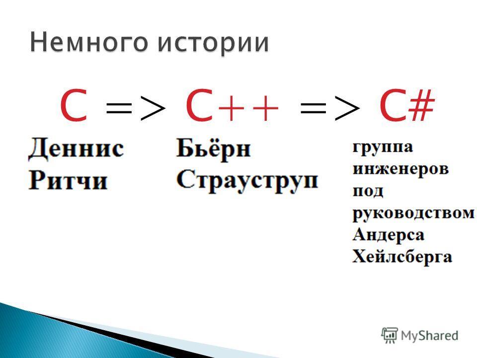 С => C++ => C#