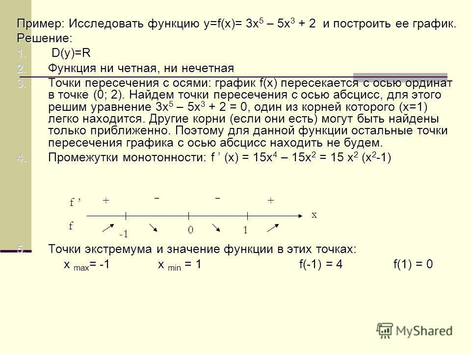 Пример: Исследовать функцию y=f(x)= 3x 5 – 5x 3 + 2 и построить ее график. Решение: 1. D(y)=R 2. Функция ни четная, ни нечетная 3. Точки пересечения с осями: график f(x) пересекается с осью ординат в точке (0; 2). Найдем точки пересечения с осью абсц
