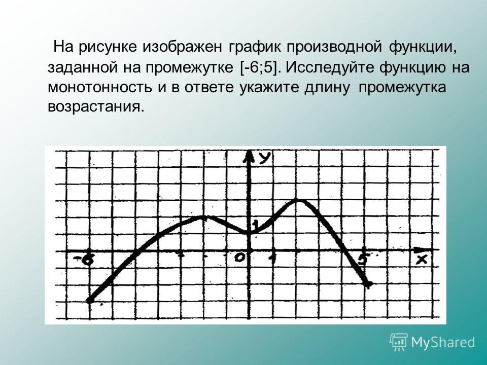 На рисунке изображен график производной функции, заданной на промежутке [-6;5]. Исследуйте функцию на монотонность и в ответе укажите длину промежутка возрастания.