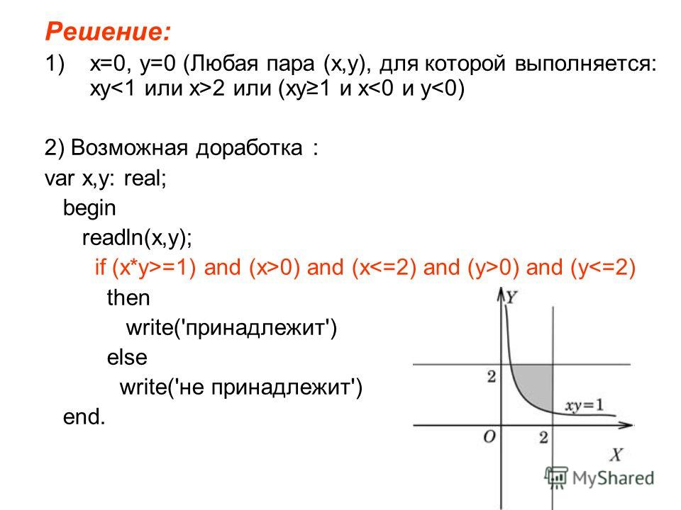 Решение: 1)x=0, y=0 (Любая пара (x,y), для которой выполняется: xy 2 или (xy1 и x0) and (x 0) and (y