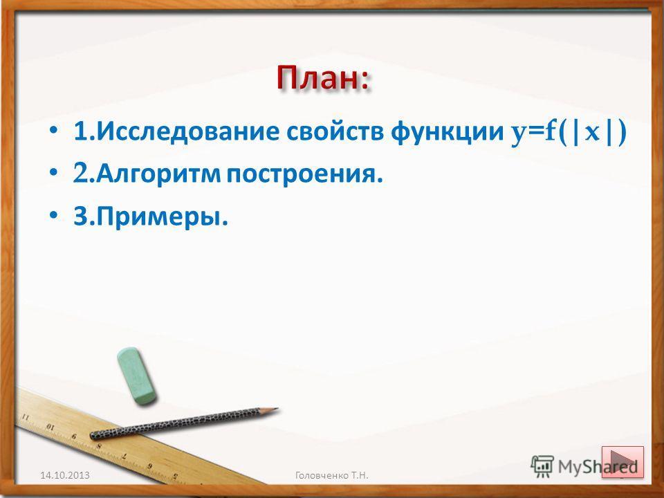 1. Исследование свойств функции y=f(|x|) 2. Алгоритм построения. 3.Примеры. 14.10.20138Головченко Т.Н.