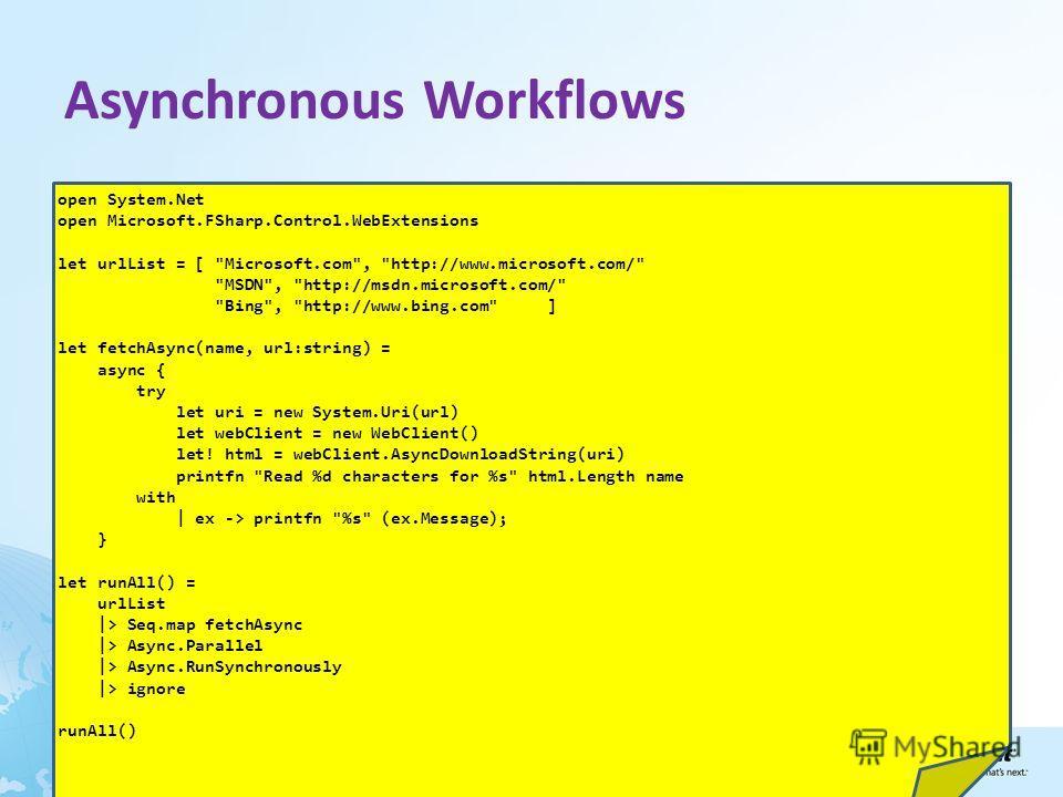 Asynchronous Workflows open System.Net open Microsoft.FSharp.Control.WebExtensions let urlList = [