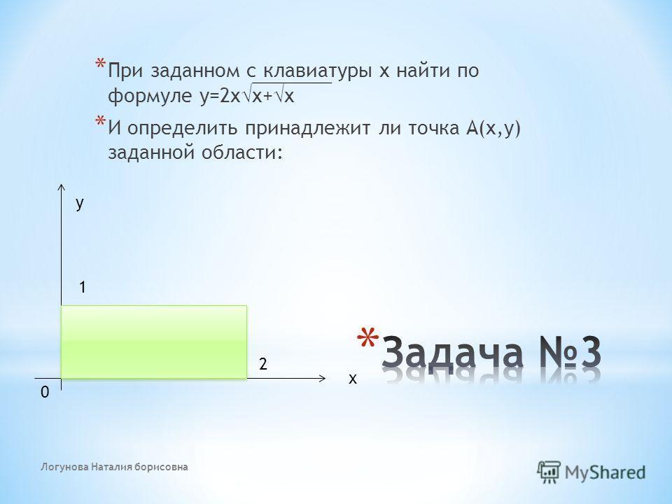 * При заданном с клавиатуры х найти по формуле у=2 х х+ х * И определить принадлежит ли точка А(х,у) заданной области: 2 1 у х 0