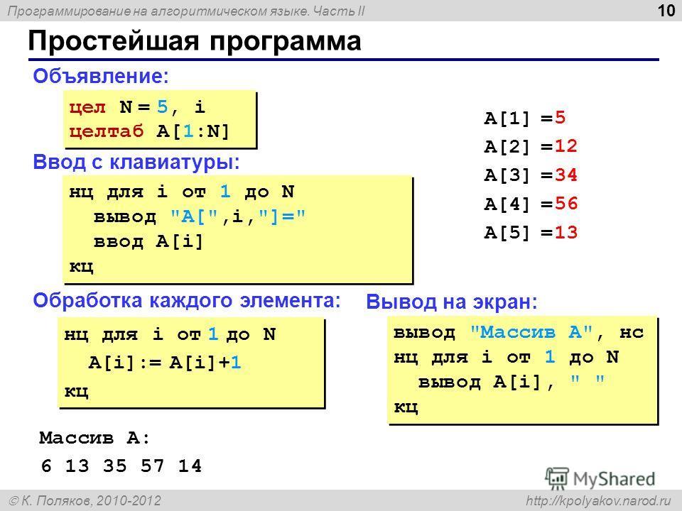 Программирование на алгоритмическом языке. Часть II К. Поляков, 2010-2012 http://kpolyakov.narod.ru 10 Простейшая программа Объявление: Ввод с клавиатуры: Обработка каждого элемента: цел N = 5, i целтаб A[1:N] цел N = 5, i целтаб A[1:N] нц для i от 1