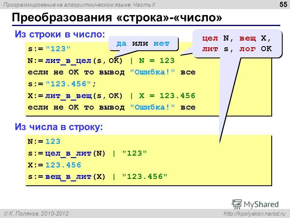 Программирование на алгоритмическом языке. Часть II К. Поляков, 2010-2012 http://kpolyakov.narod.ru Преобразования «строка»-«число» 55 Из строки в число: s:=