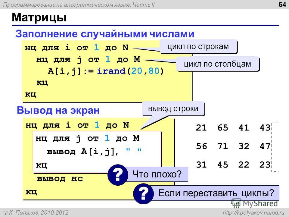 Программирование на алгоритмическом языке. Часть II К. Поляков, 2010-2012 http://kpolyakov.narod.ru Матрицы 64 Заполнение случайными числами нц для i от 1 до N нц для j от 1 до M A[i,j]:= irand(20,80) кц нц для i от 1 до N нц для j от 1 до M A[i,j]:=