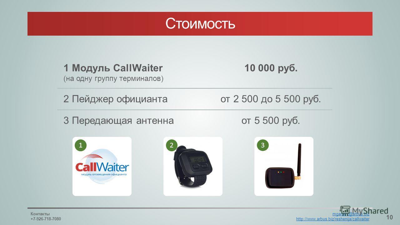 1 Модуль CallWaiter (на одну группу терминалов) 2 Пейджер официанта 3 Передающая антенна 10 000 руб. от 2 500 до 5 500 руб. от 5 500 руб. Стоимость 10 Контакты +7-926-718-7080 mgareev@arbus.biz http://www.arbus.biz/reshenija/callwaiter 12 3