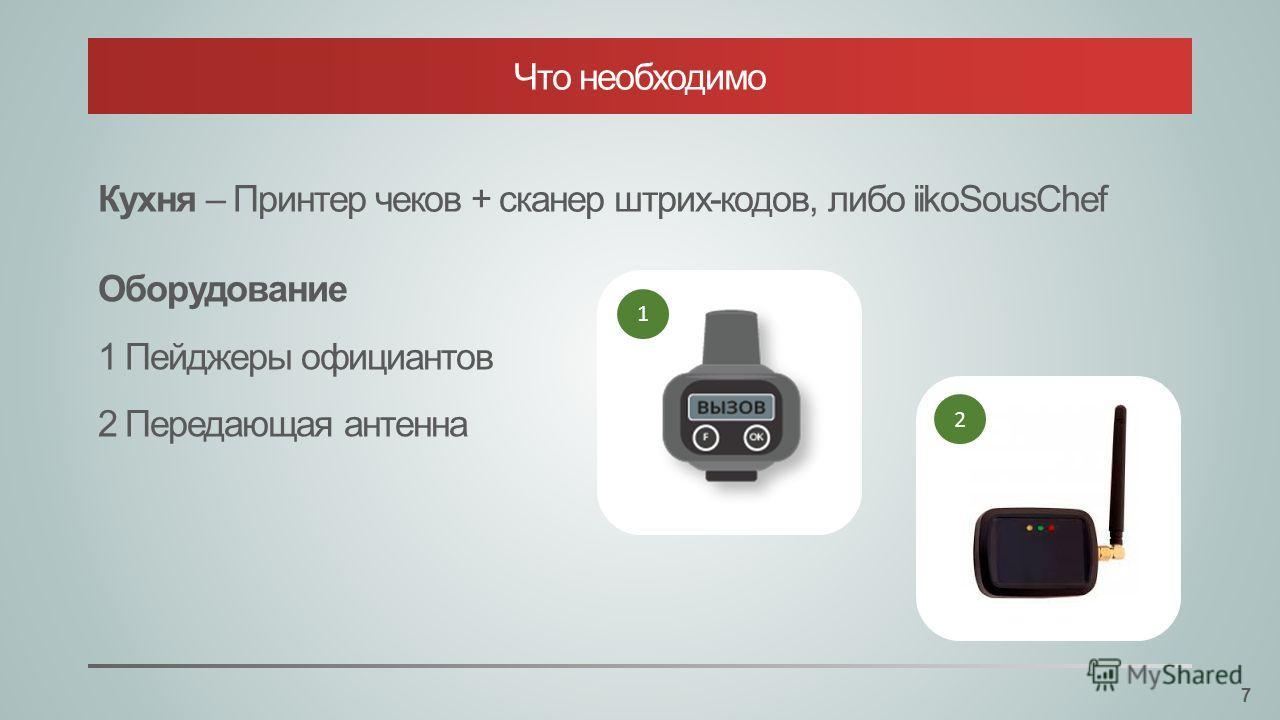 Кухня – Принтер чеков + сканер штрих-кодов, либо iikoSousChef Оборудование 1 Пейджеры официантов 2 Передающая антенна 1 2 Что необходимо 7