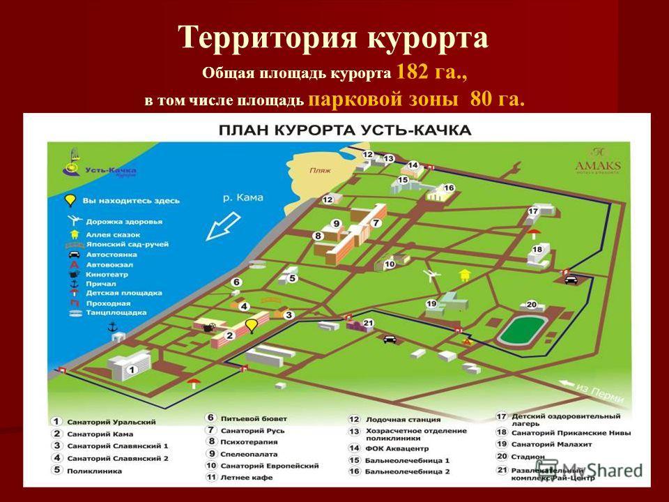 Территория курорта Общая площадь курорта 182 га., в том числе площадь парковой зоны 80 га.
