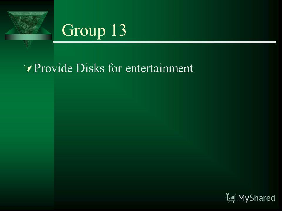 Group 13 Provide Disks for entertainment