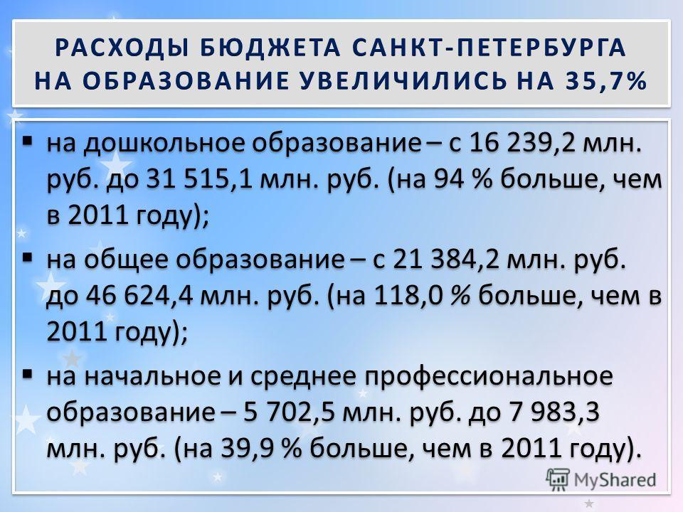 на дошкольное образование – с 16 239,2 млн. руб. до 31 515,1 млн. руб. (на 94 % больше, чем в 2011 году); на общее образование – с 21 384,2 млн. руб. до 46 624,4 млн. руб. (на 118,0 % больше, чем в 2011 году); на начальное и среднее профессиональное