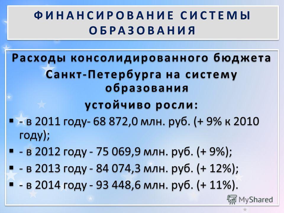 Расходы консолидированного бюджета Санкт-Петербурга на систему образования устойчиво росли: - в 2011 году- 68 872,0 млн. руб. (+ 9% к 2010 году); - в 2012 году - 75 069,9 млн. руб. (+ 9%); - в 2013 году - 84 074,3 млн. руб. (+ 12%); - в 2014 году - 9