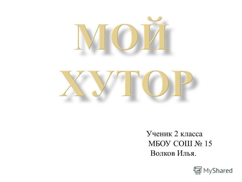 Ученик 2 класса МБОУ СОШ 15 Волков Илья.