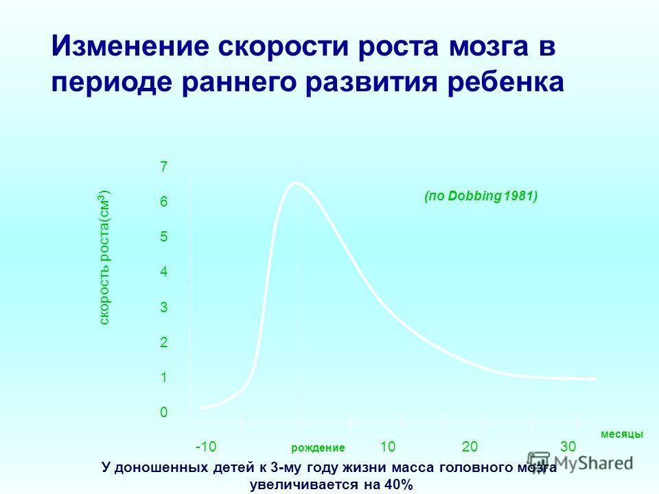 Изменение скорости роста мозга в периоде раннего развития ребенка скорость роста(см 3 ) 7654321076543210 -10 рождение 10 20 30 У доношенных детей к 3-му году жизни масса головного мозга увеличивается на 40% месяцы (по Dobbing 1981)