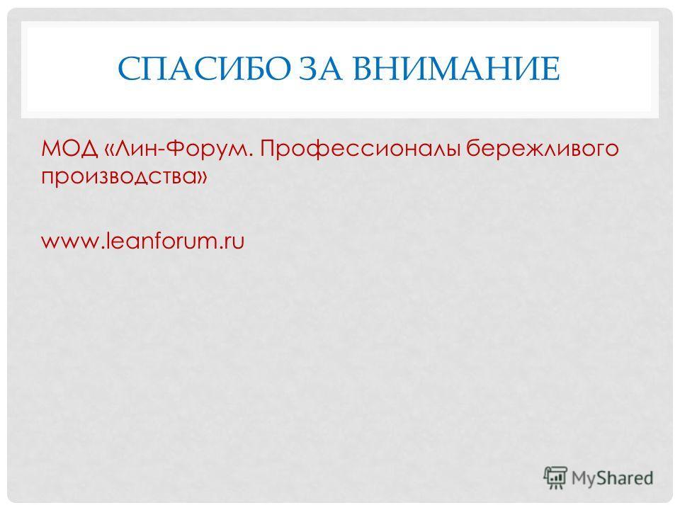 СПАСИБО ЗА ВНИМАНИЕ МОД «Лин-Форум. Профессионалы бережливого производства» www.leanforum.ru